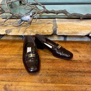 Etienne Aigner Valentine Croc Print Loafers